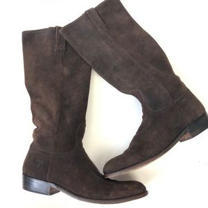 Frye Suede Bari Slouch Tall Brown Riding Boots